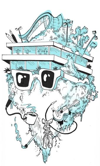 CalArts Staff Art Show, t-shirt and poster design, 2019.